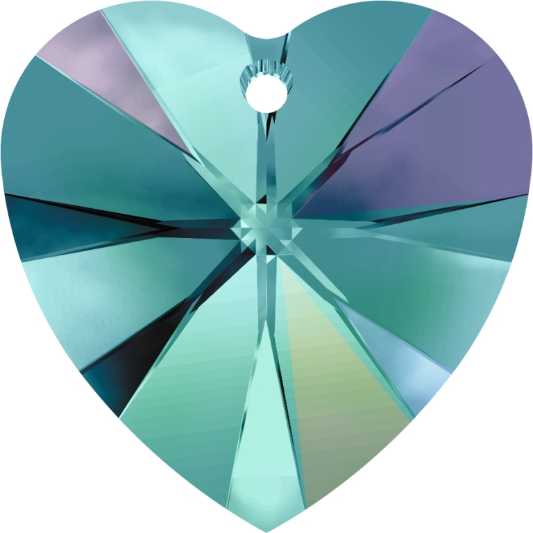 6202 10mm Blue Zircon AB Heart Pack Qty 12