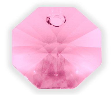 6401 14mm Light Rose 1 Hole Octagon Pack of 10