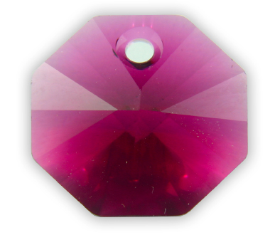 6401 14mm Ruby 1 Hole Octagon Pack of 10