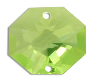 Strass U8116 14mm Light Peridot 2 Hole Octagon Pack of 10