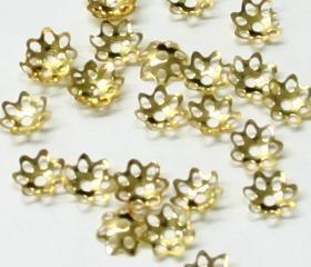 JFBCA/6MM 6mm Gold Plated Bead Cap Pack Qty 100