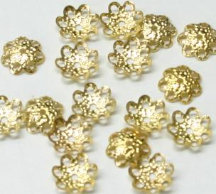 JFBCB/8MM 8mm Gold Plated Bead Cap Pack Qty 100