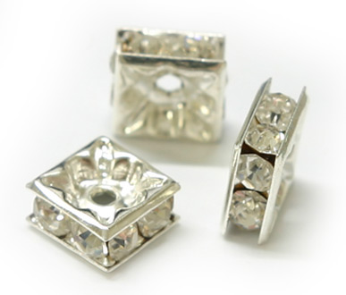 JFROS 8mm Silver Plated Crystal Square Rondelle PQ 10