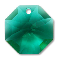 Strass U8115 14mm Emerald 1 Hole Octagon Pack of 10