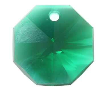 P2571 14mm Emerald 1 Hole Octagon Pack of 20