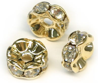 JFROG 6mm Gold Plated Crystal Rondelle PQ 10