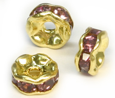 JFROG 6mm Gold Plated Light Amethyst Rondelle PQ 10